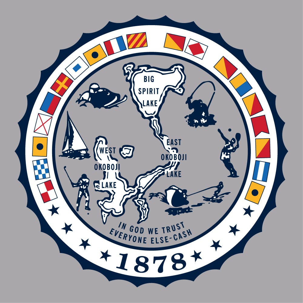 Nautical Flags University of Okoboji Crest Tee