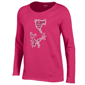 Ladies Scoop Neck Crew - Hot Pink