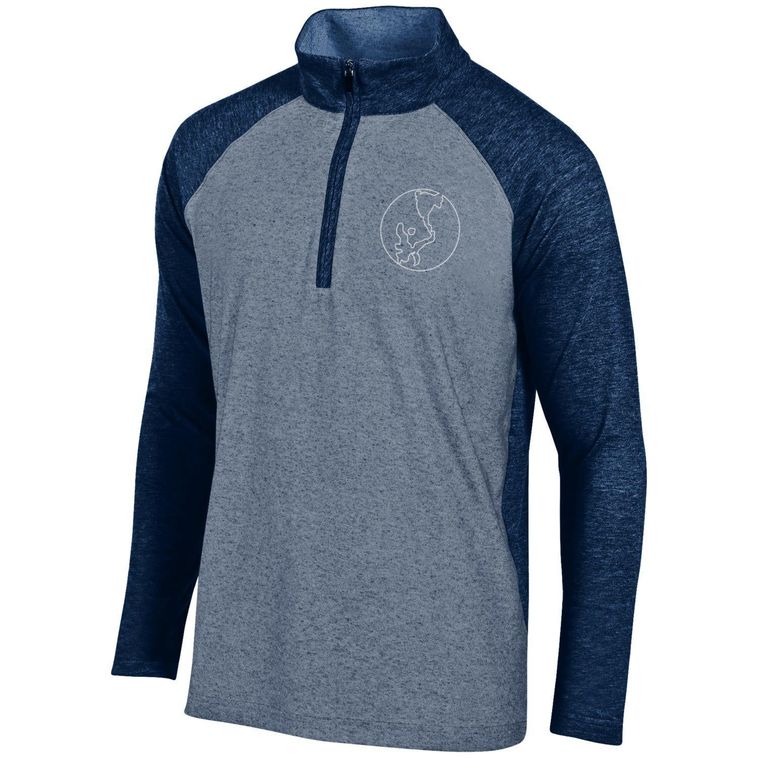 Gear Two-Tone Heathered Navy and Gray 1/4 Zip