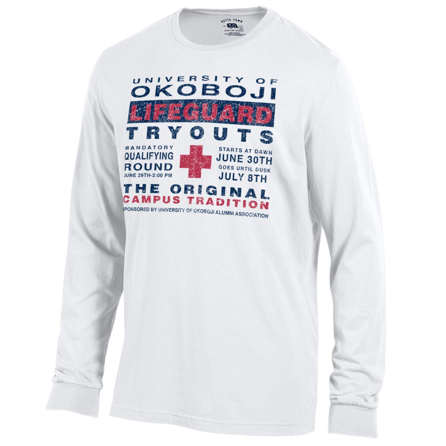Lifeguard Tryouts - Outta Town Long Sleeve Tee - White
