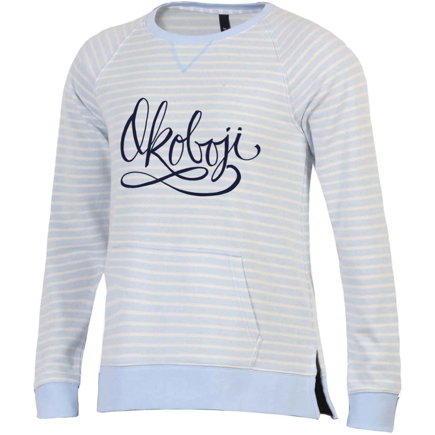 Women's Sunset Stripe Crew-Oceanfront Blue Stripe