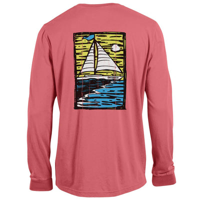 Outta Town Long Sleeve Sailboat Tee - Washed Barn Red