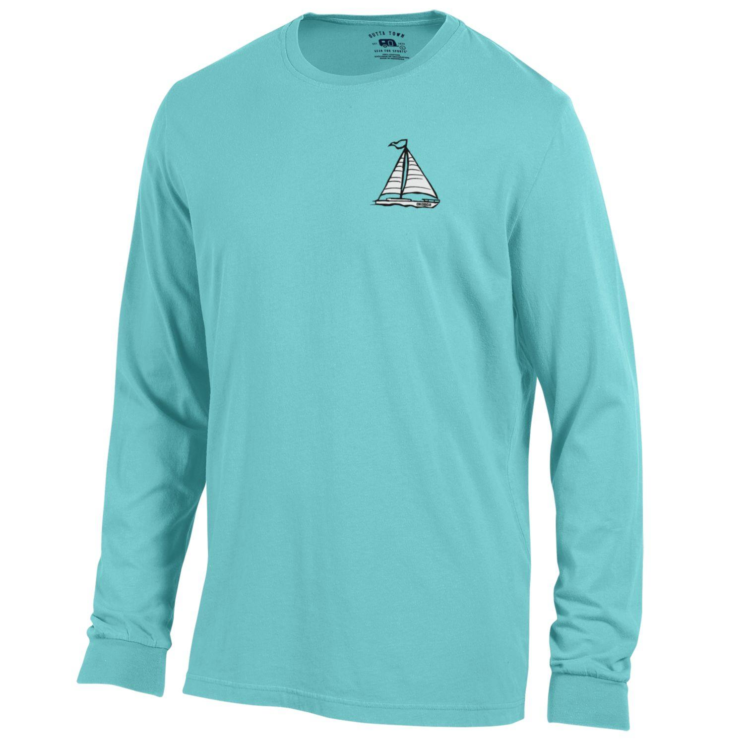 Outta Town Long Sleeve Sailboat Tee - Liquid Blue