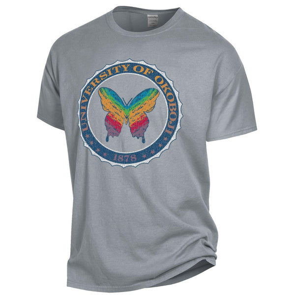 OkoButterfly Tee - Garment Dyed Short Sleeve - Concrete Grey