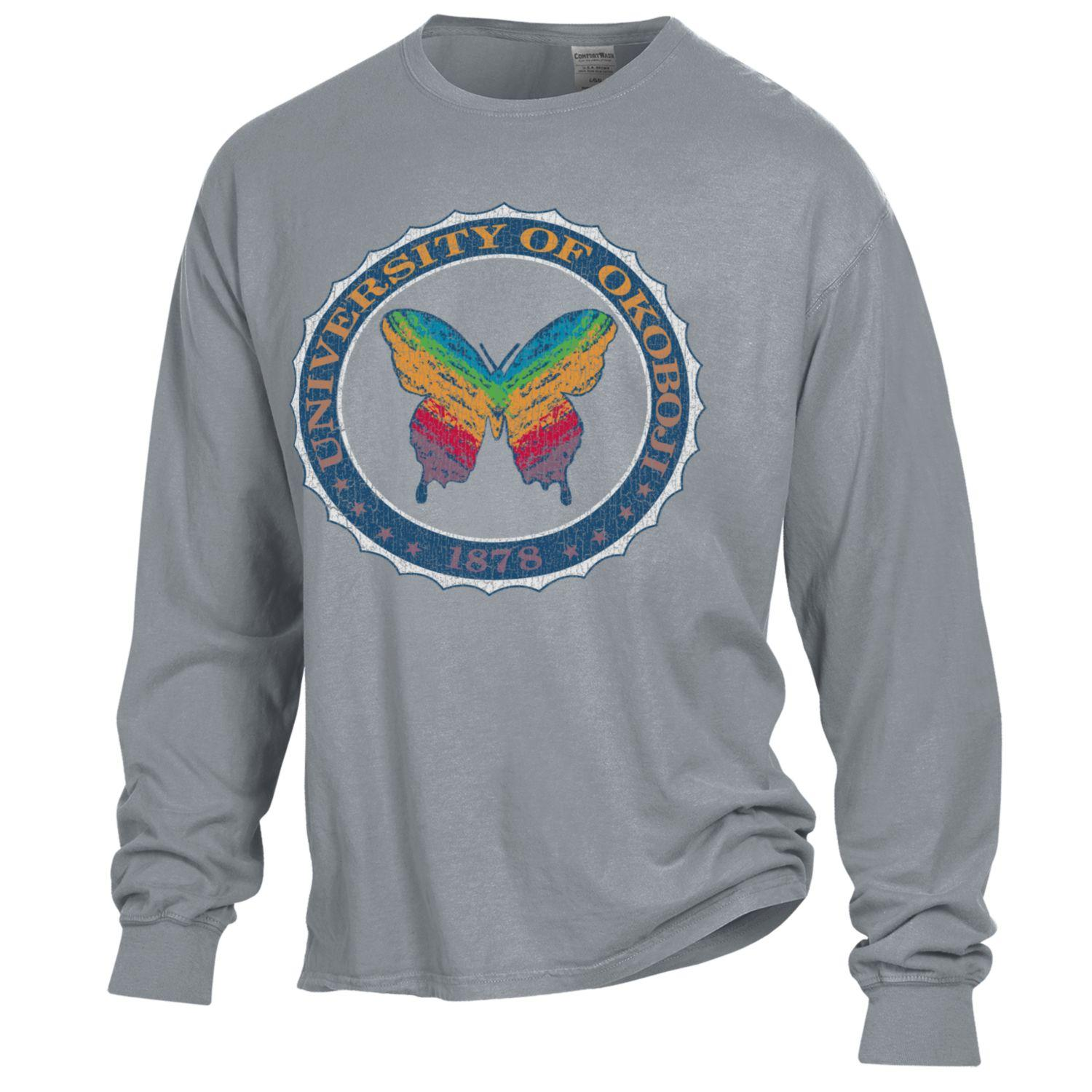 OkoButterfly Tee - Garment Dyed Long Sleeve - Concrete Grey