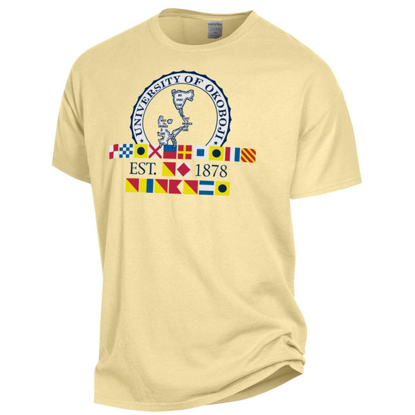 "Okoboji ""In God We Trust"" Tee - Summer Yellow"