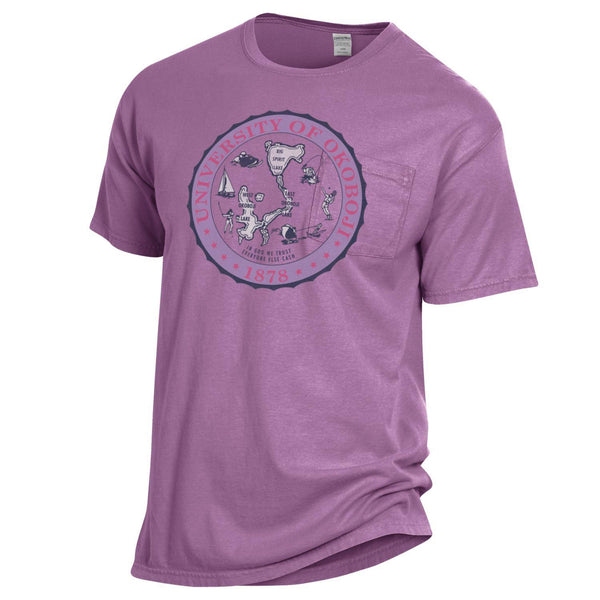 U of O Garment Dyed Short Sleeve Pocket Tee - Purple Plum
