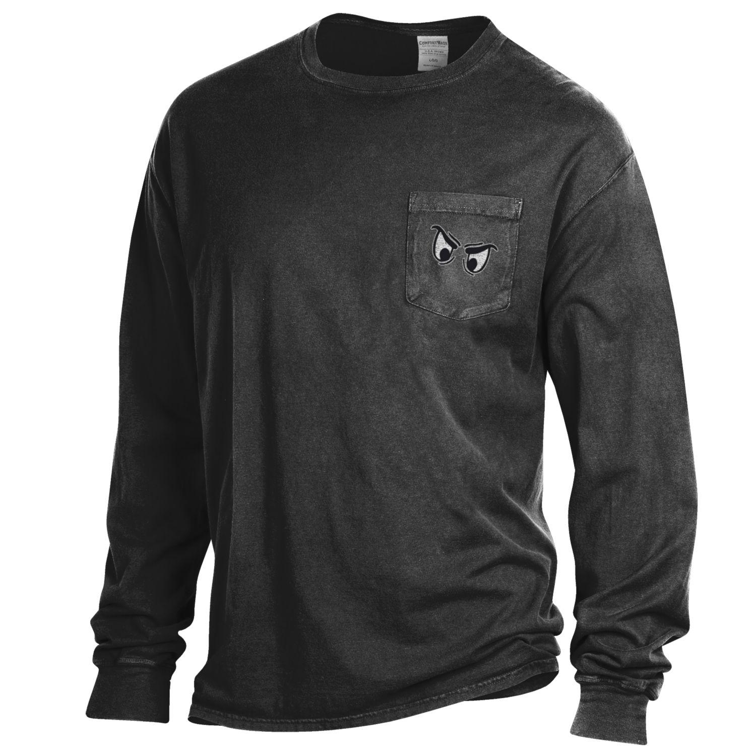 Phantoms Garment Dyed Long Sleeve Pocket Tee - Black