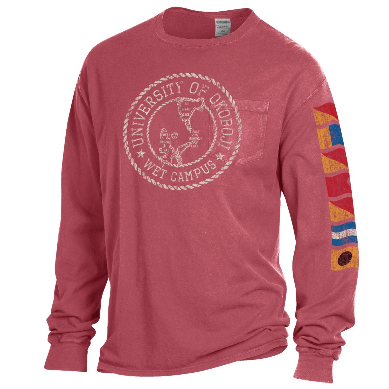 Lake Okoboji Campus Garment Dyed Long Sleeve Pocket Tee - Crimson