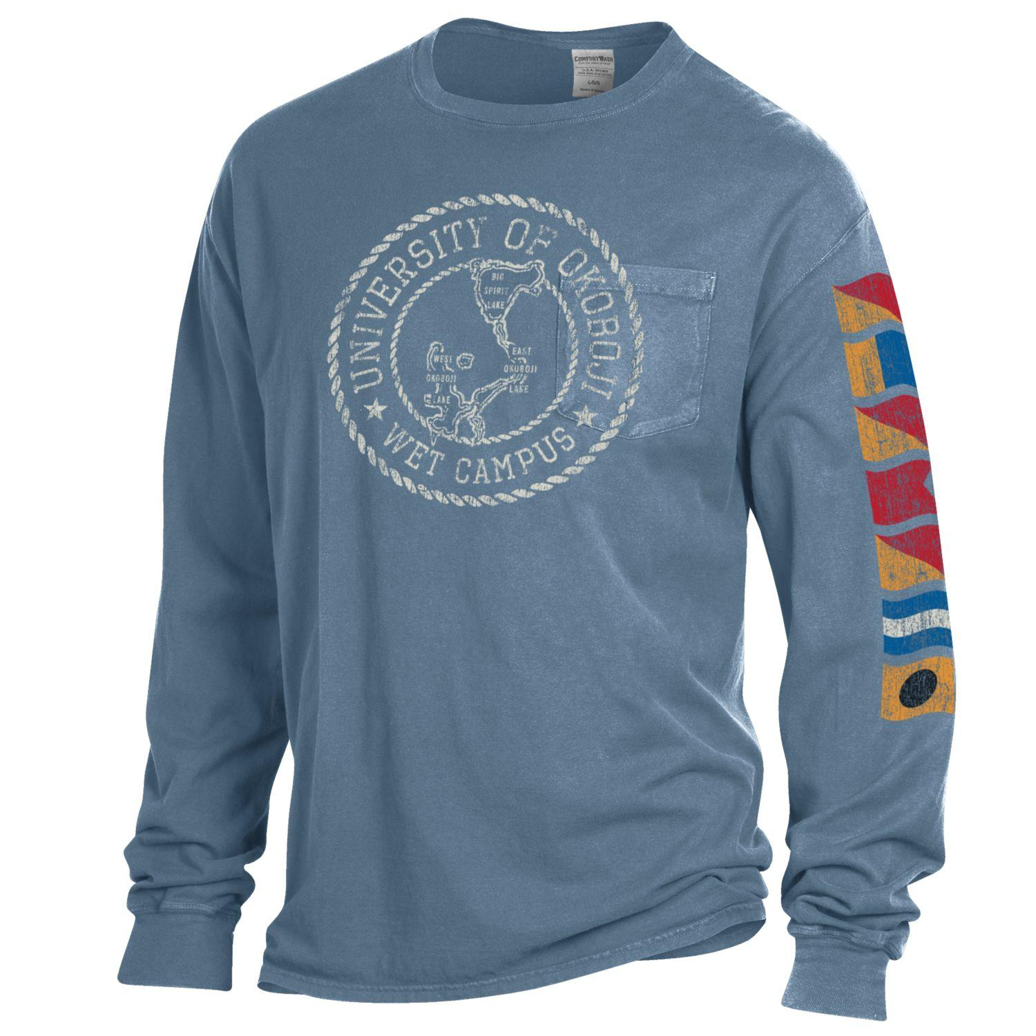 Lake Okoboji Campus Garment Dyed Long Sleeve Pocket Tee - Deep Water Blue