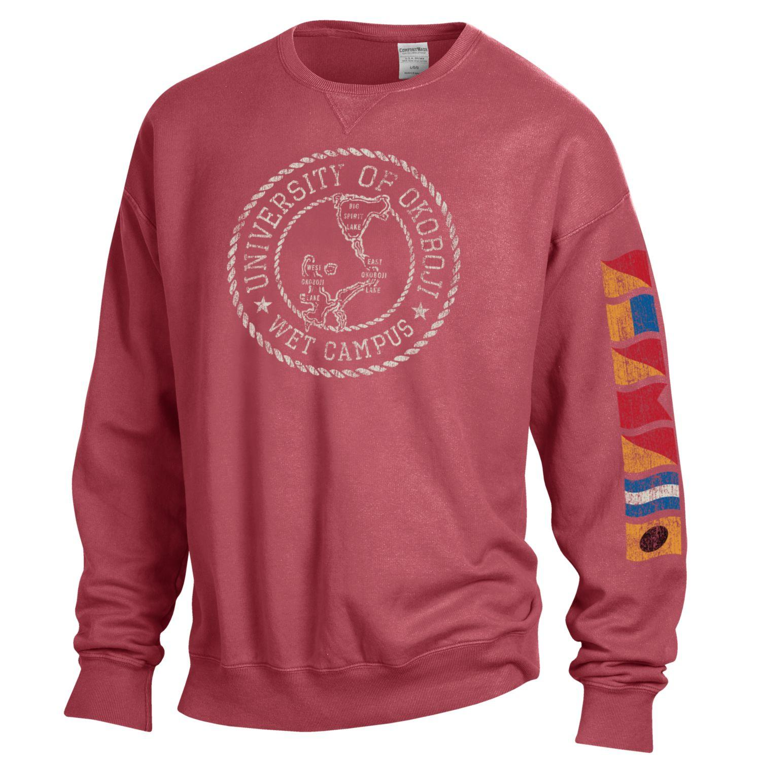 Lake Okoboji Campus Garment Dyed Crew - Crimson
