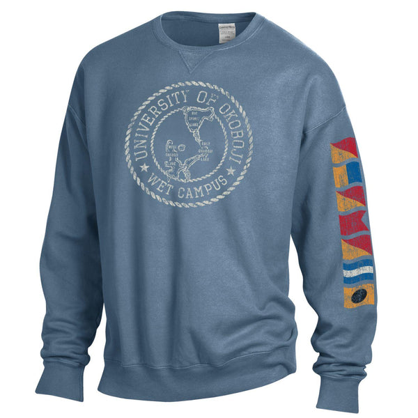 Lake Okoboji Campus Garment Dyed Crew - Deep Water Blue