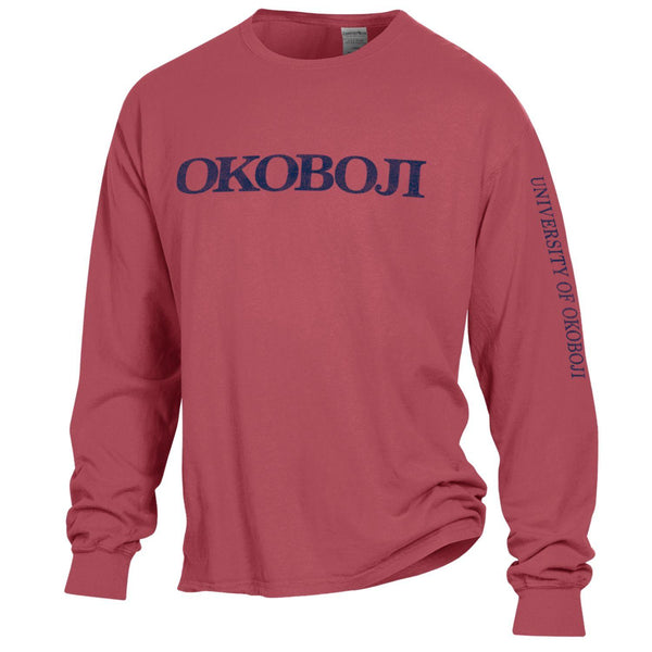 University of Okoboji On Campus Long-sleeve Tee - Crimson Fall