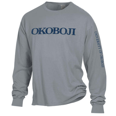 University of Okoboji On Campus Long-sleeve Tee - Concrete Grey