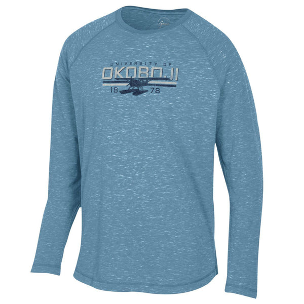 FIRESIDE SEAPLANE RAGLAN LONG SLEEVE TEE - Mineral Blue