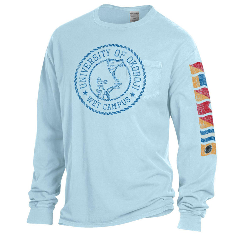 Lake Okoboji Campus Garment Dyed Long Sleeve Pocket Tee - Soothing Blue