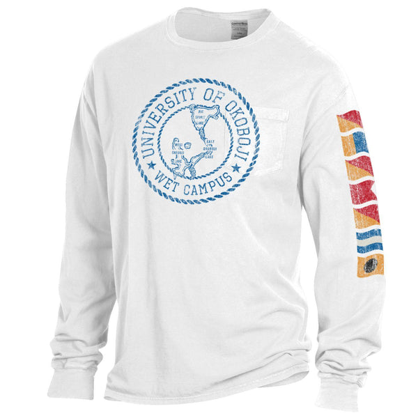 Lake Okoboji Campus Garment Dyed Long Sleeve Pocket Tee - White