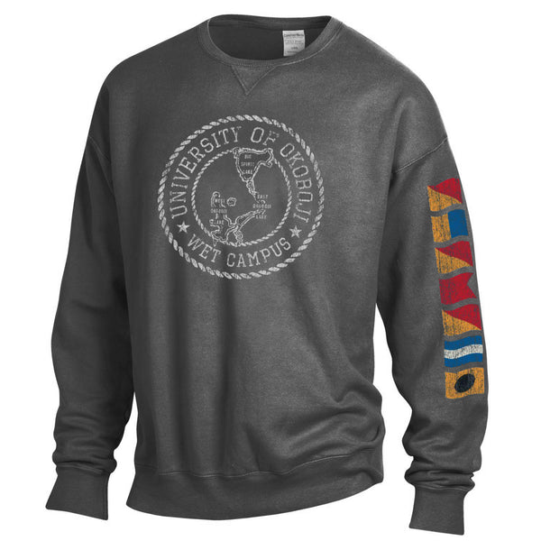 Lake Okoboji Campus Garment Dyed Crew - Railroad Grey
