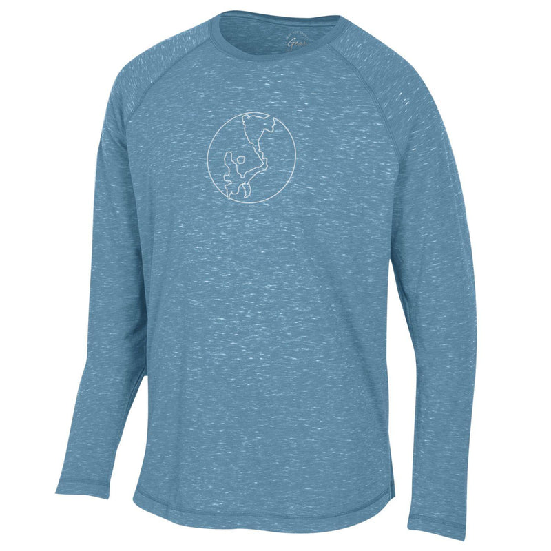 Okoboji Lakes Fireside Raglan LONG SLEEVE TEE - Mineral Blue