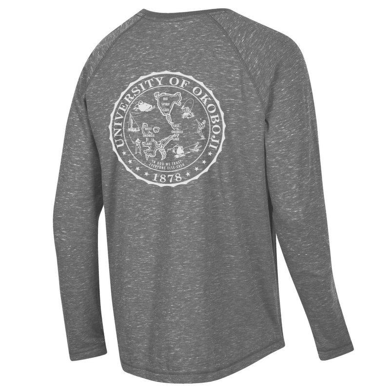 Okoboji Lakes Fireside Raglan LONG SLEEVE TEE - Charcoal