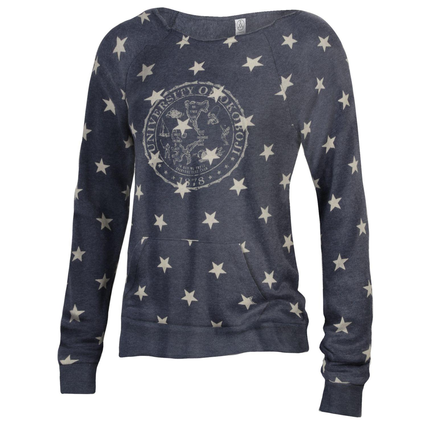 Ladies University of Okoboji Maniac Sweatshirt - Stars