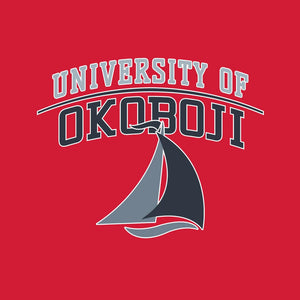 University of Okoboji Heather Stripe Polo - Scarlet
