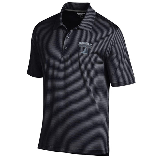 University of Okoboji Heather Stripe Polo - Black