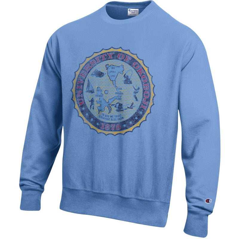 The Champion Reverse Weave Full Crest Crew - Light Blue