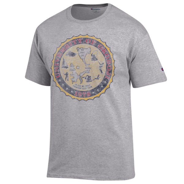 Retro Full Color Crest Tee - Oxford Grey