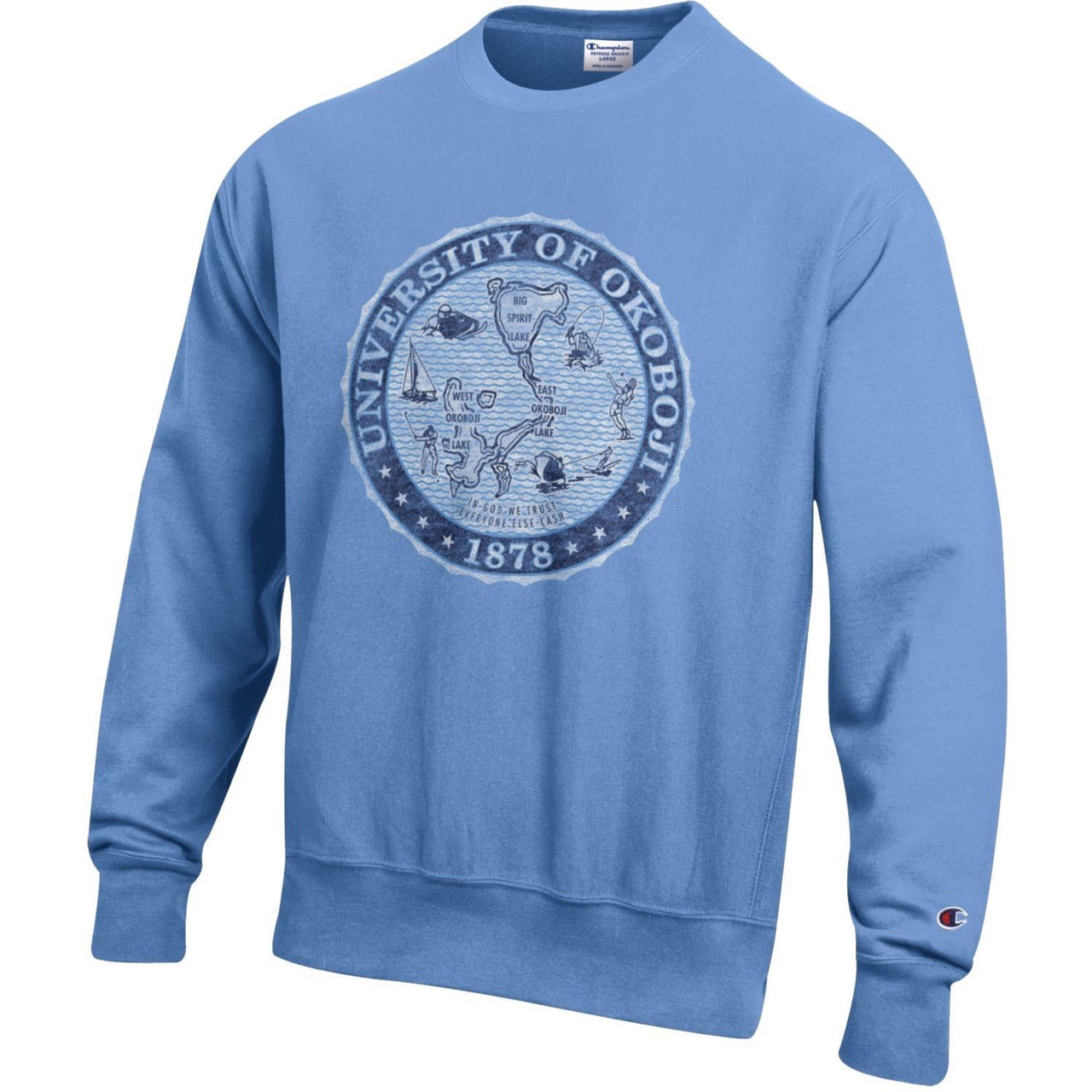 The Skyblue Champion Reverse Weave Crest Crew