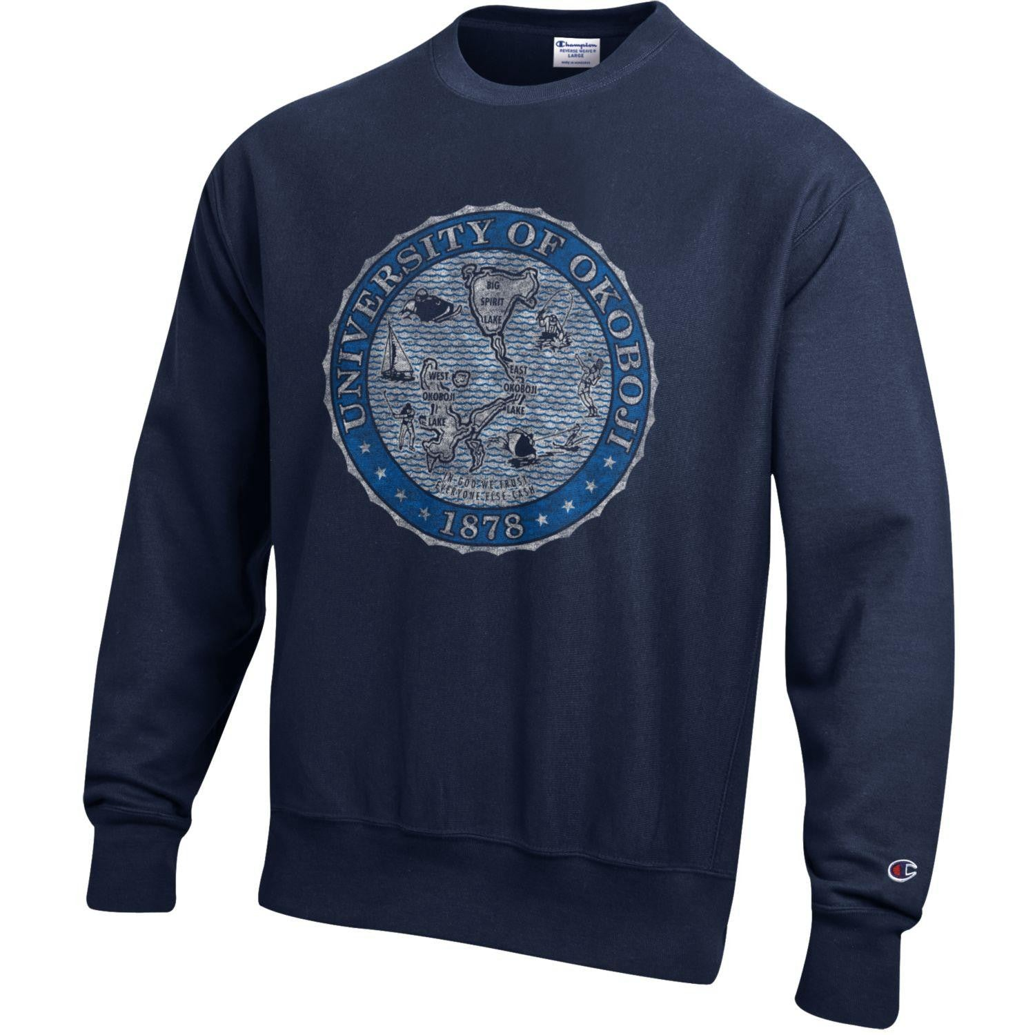 The Navy Champion Reverse Weave Crest Crew