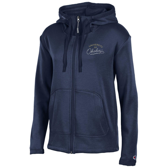 Ladies Full Zip Navy Embroidered (Very Soft Inside)