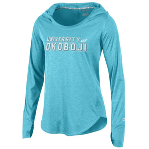 Champion Ladies Long-Sleeved Tee w/ Hood - Soft Blue