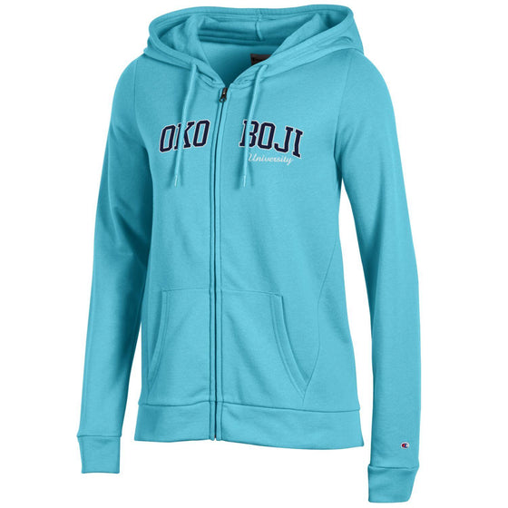 Aqua Blue Champion Eco® Fleece Full-Zip Hoodie