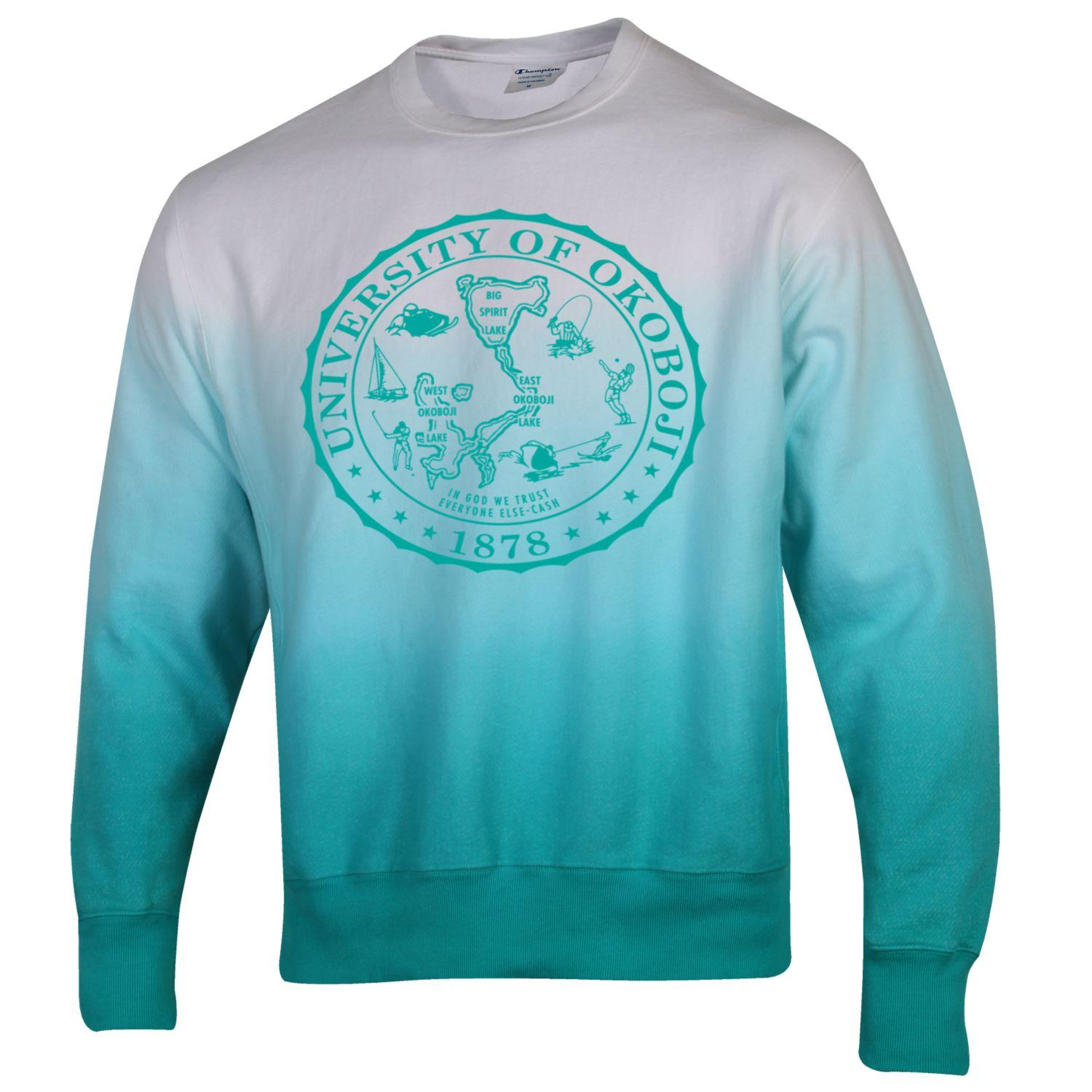 Limited Edition Champion Reverse Weave Dip Dye Ombre Crew - Vivid Teal