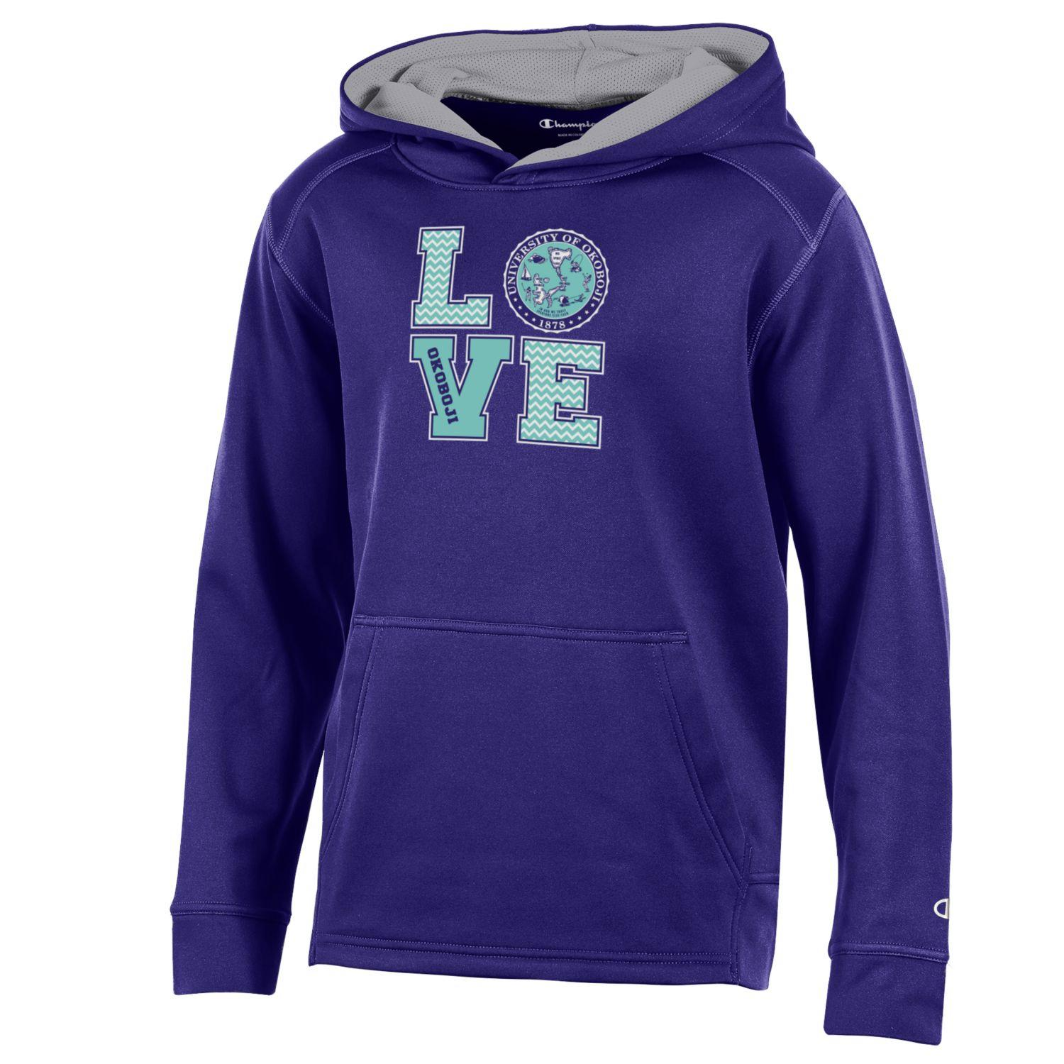 Girls Athletic Champion Fleece Hood - Purple
