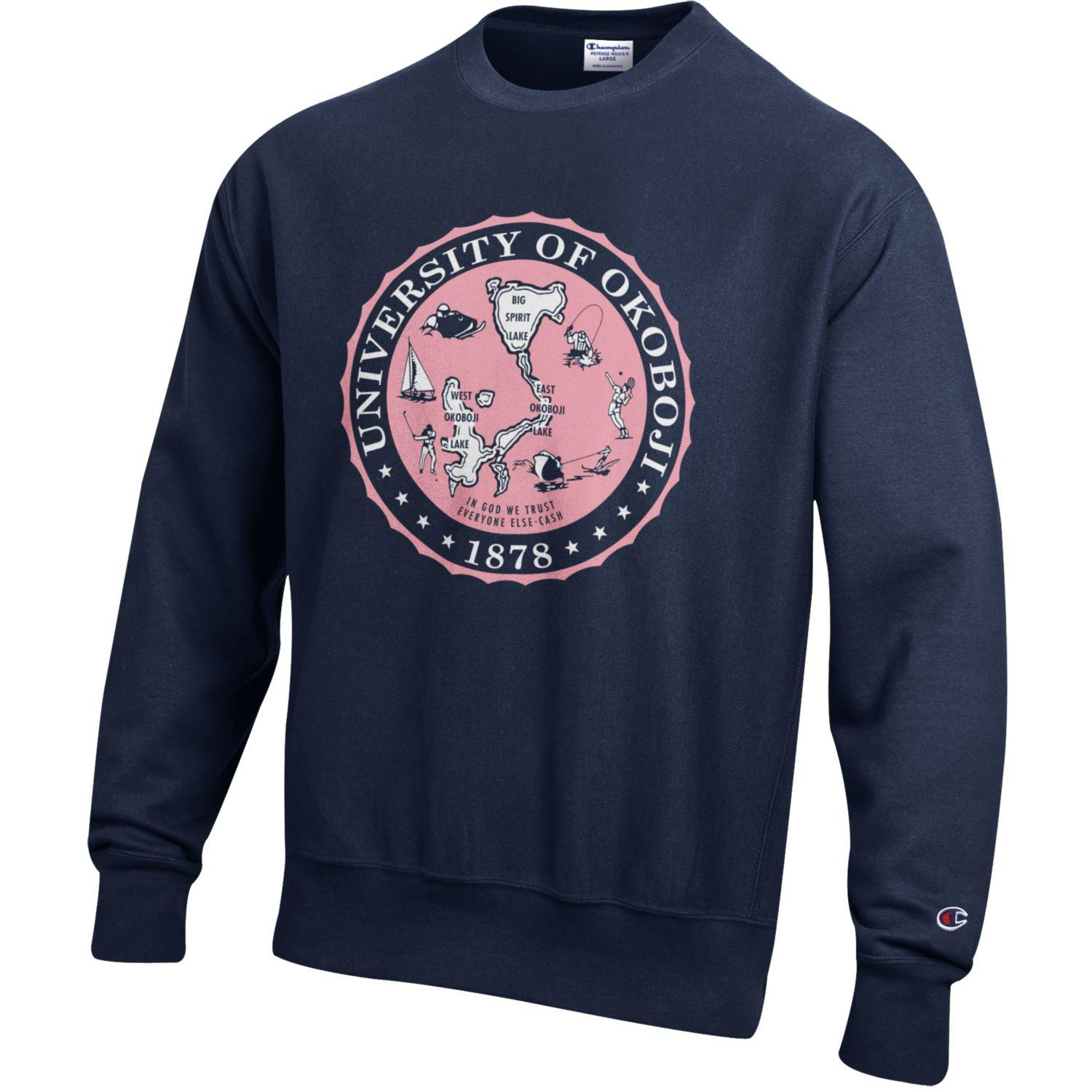 The Navy Champion Reverse Weave White & Pink Crest Crew