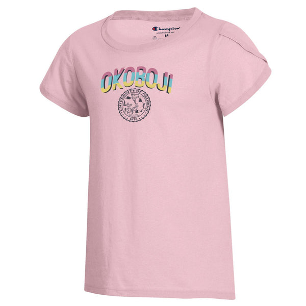 "Okoboji Girls University ""Girly"" Tee - Feather Pink"