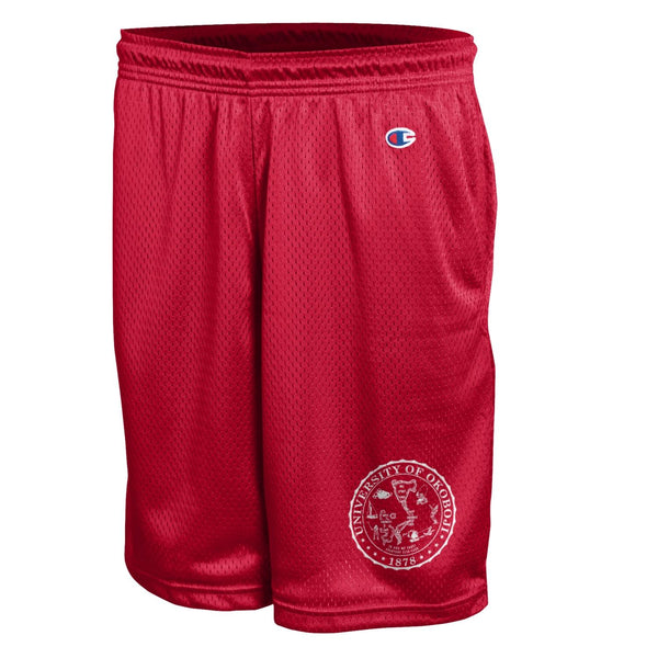 OKOBOJI CLASSIC CREST MESH SHORT GYM SHORT - RED