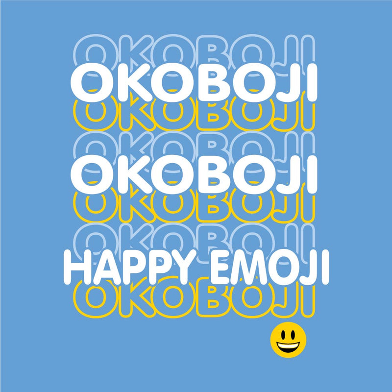 Okoboji Youth Happy Emoji Tee - Light Blue
