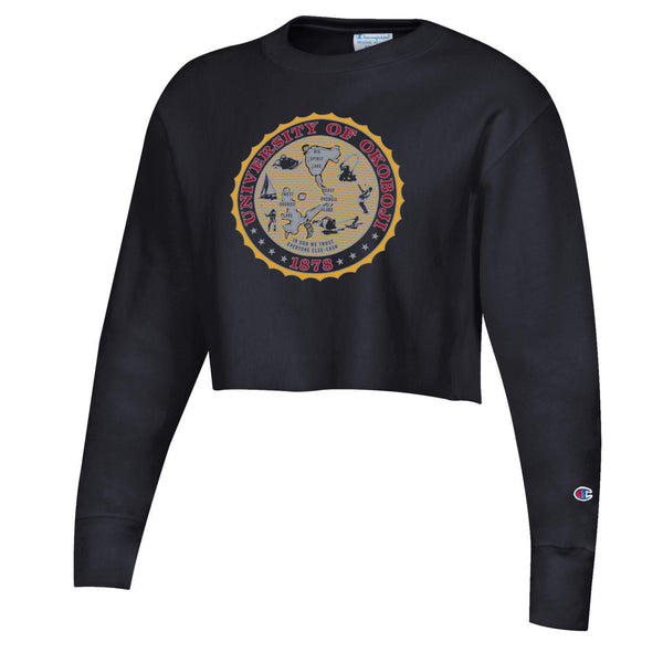 Women's Okoboji Cropped Crest Crew - Black