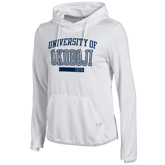 Ladies University of Okoboji FT Pullover Hood - White