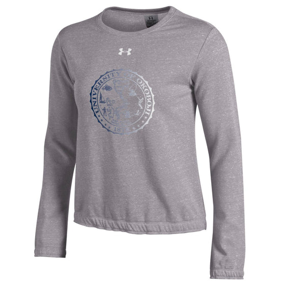 Ladies University of Okoboji Crest Levity Crew - True Grey Heather