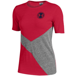Ladies University of Okoboji Collide Triblend Tee - Red / True Grey Heather