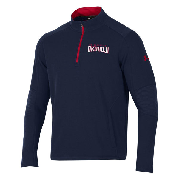 U of O Under Armour Threadborne Ridge 1/4 Zip - UA Midnight Navy/Red