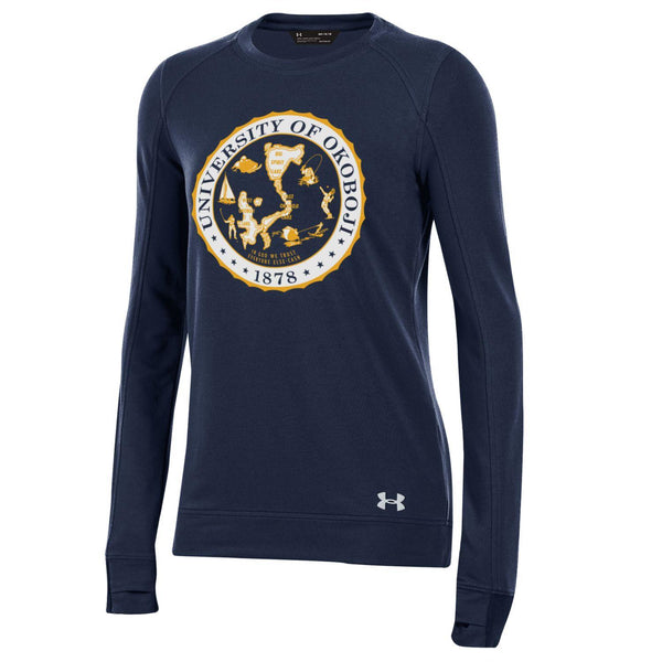 Ladies Okoboji Crest Featherweight Fleece Crew - Navy