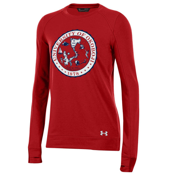 Ladies Okoboji Crest Featherweight Fleece Crew - Flawless Red