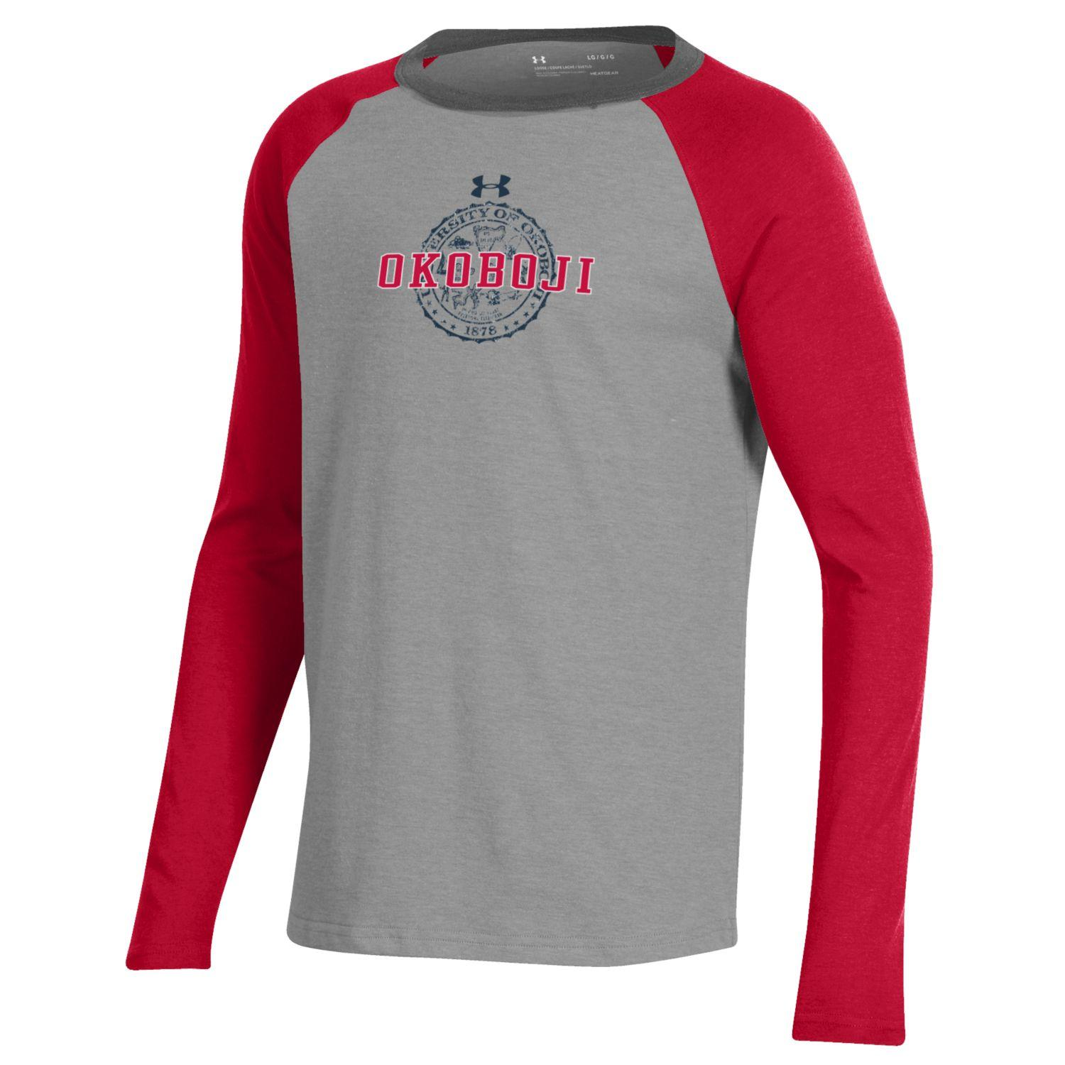 Okoboji Boys Tri-Color Performance Cotton Baseball Tee - Red