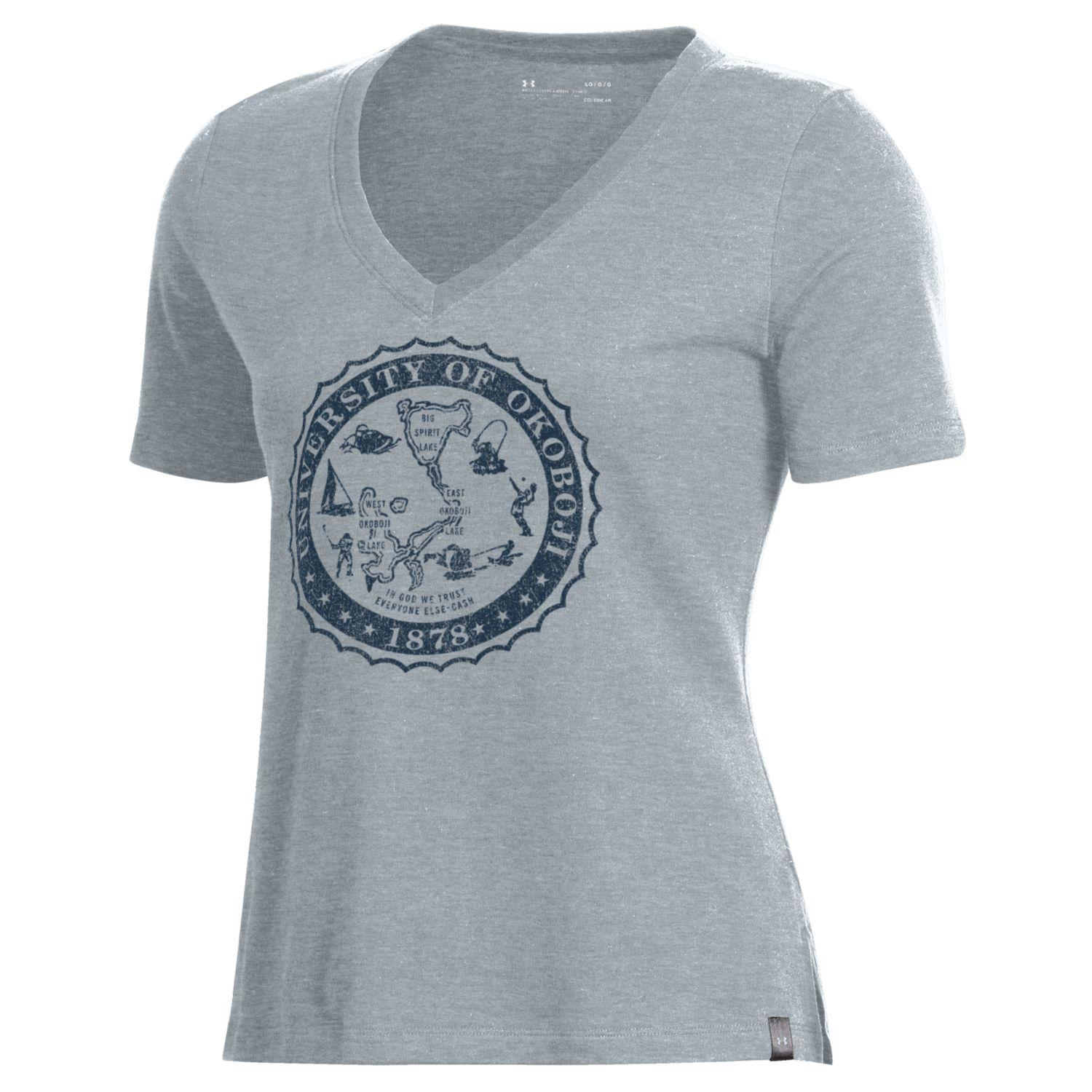 Womens Okoboji Performance Cotton V-Neck - Steel Heather