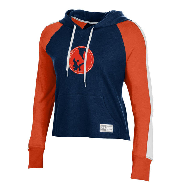 Women's OKOBOJI Off Grid Waffle Crop Hood - UA Midnight Navy/Dark Orange